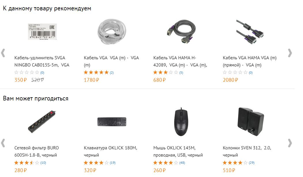 Подборки товаров на примере крупрного интернет-магазина
