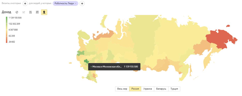 Отчет «География» в Яндекс.Метрике