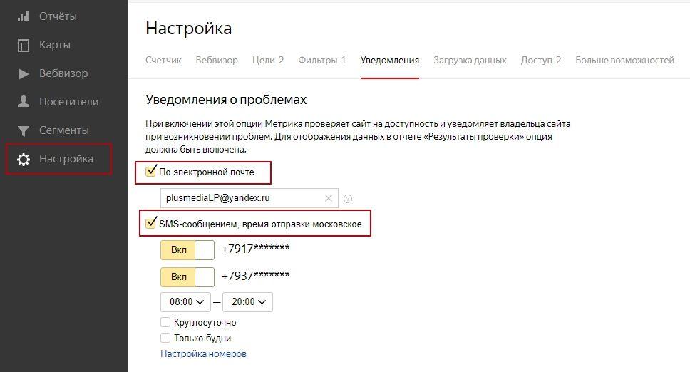Настройка уведомлений для Яндекс.Метрики
