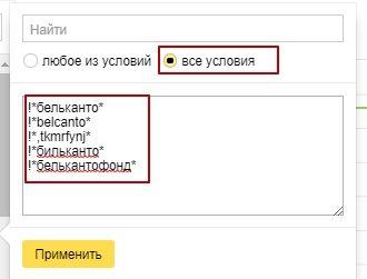 Настройка списка ключевых фраз в Яндекс.Метрике