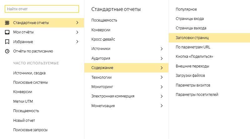 Отчет «Заголовки страниц» в Яндекс.Метрике