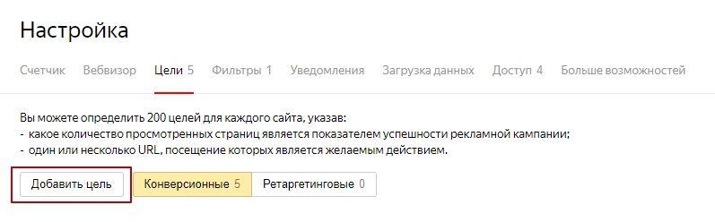 Настройка целей в Яндекс.Метрики