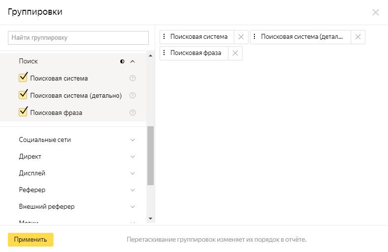 Изменение группировки в настройках отчета Яндекс.Метрики
