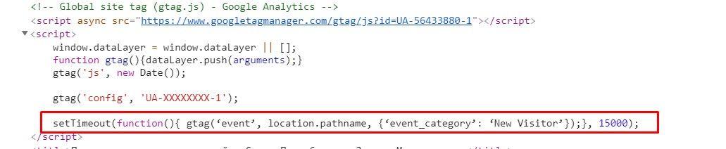 Код Гугл Аналитикс со строкой точного показателя отказов