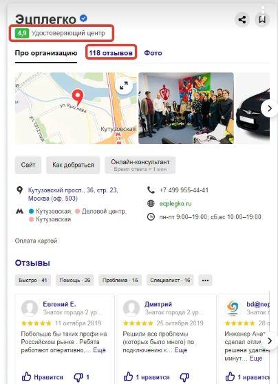 ЭЦП легко — рейтинг карточки в справочнике Яндекса