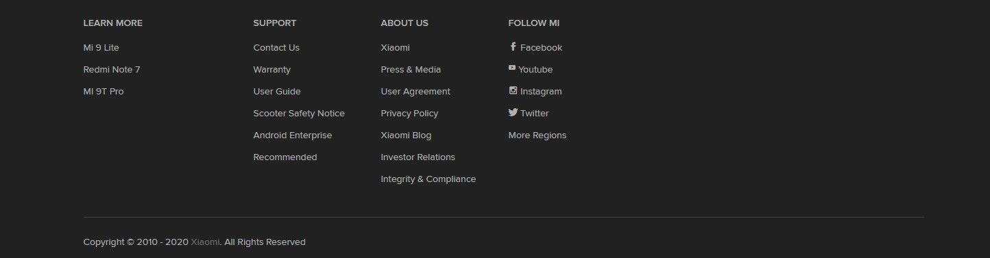 Кнопки соц. сетей в футере на примере www.mi.com