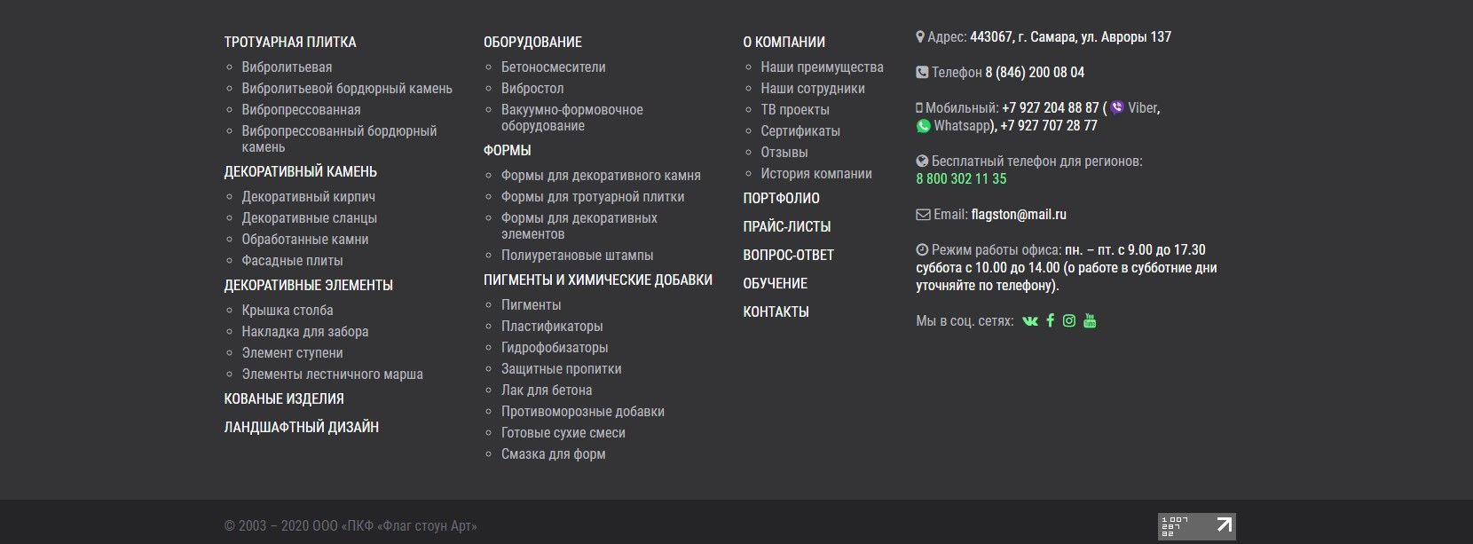 Способы обратной связи в подвале на примере 63plitka.ru