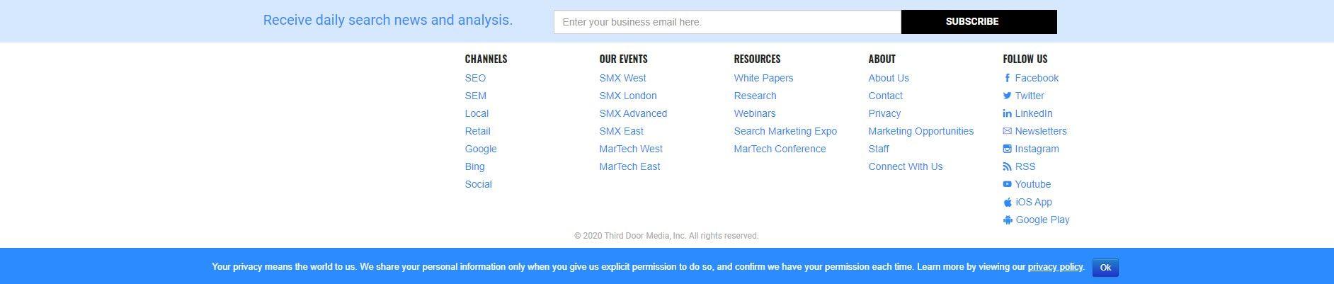 Призыв «Подписаться на рассылку» в подвале на примере searchengineland.com