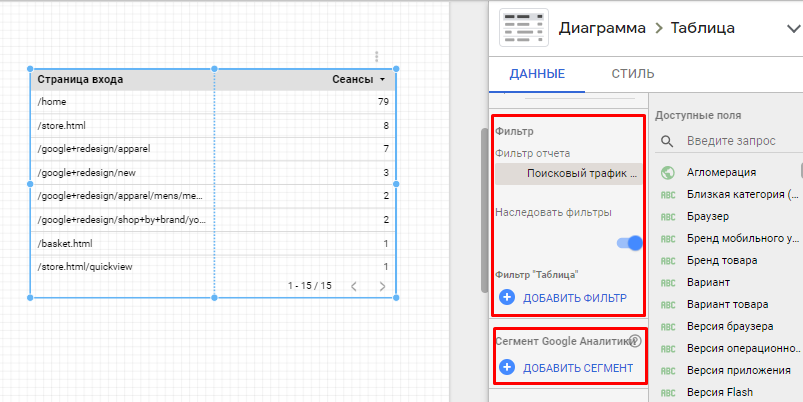 Вкладка данные для Таблицы