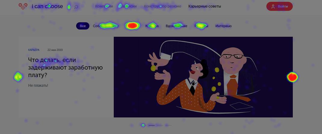 Тепловая карта кликов из отчета Яндекс.Метрики